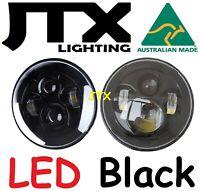"""JTX 7"""" LED Headlights Black Holden HR HD HJ HK HT Kingswood Premier Monaro"""