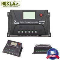 10A 20A 30A PWM Solar Charge Controller LCD 12V 24V Battery Regulator USB Port