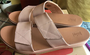 new FITFLOP beechwood CARIN PATENT SLIDES sandals size 6.5/ eur 40