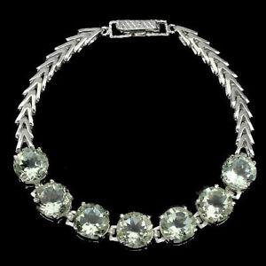Bracelet Green Amethyst Genuine Gems 10mm x 10mm Sterling Silver 7 1/2 Inch