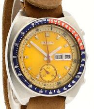 Seiko Пого стальной желтый циферблат автоматический Хронограф часы ссылка: 6139-6005
