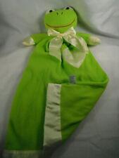 Komet Creations Green Frog Lovey Security Blanket Frankie Frog Satin Heart Trim