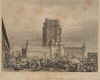 ROUX, Schlachtenszene. Angriff auf Schloss Vincennes in Paris, 19. Jh., Stahl.