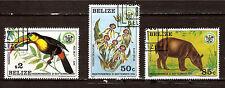 """""""BELIZE 3 T. # 596-597-599  orchidée noire,tapir,toucan.Trés belle cote  E112"""