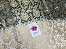 Ornamental Two toned Gold metalic print indian Banarsi Brocade fabric M247 Mtex