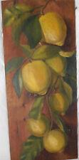 Limoni  dipinto a olio su tavoletta grezza  primi del novecento
