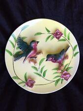 Vintage ceramic wall plaque plate 3D raised Bluebirds & flowers Japan