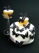 15 x DOUBLE BLACK 3D BUTTERFLIES PRE-CUT EDIBLE RICE PAPER CUP CAKE TOPPERS