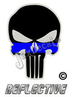 "2- Thin Blue Line Punisher Decal SKULL 2"" inch Reflective TBL Decal Stickers"