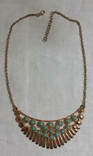 """Spiked Arched Pendant 19.5"""" Necklace Brasstone Chain Mint Green Plastic Jeweled"""
