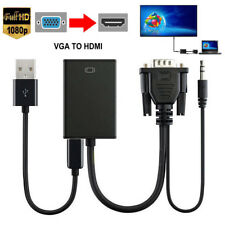 HDMI to VGA Male Adapter + Audio Ouput Cable For PC HDTV Notebook DVD Mac Book