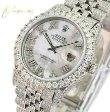 Rolex Mens Datejust White MOP Roman Diamond Dial Full Diamond Watch 36mm