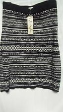 Autograph Monotone Black grey taupe Fairisle WARM Knit SKIRT size 26 Stretchy