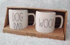 Rae Dunn Artisan Collection Magenta DOG DAD WOOF Ceramic Coffee Mug Gift Set NEW