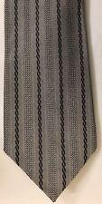 Vintage Lanvin Paris Silk Tie Blue Gray Stripe Excellent Condition