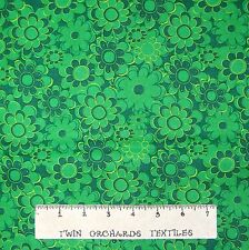 Calico Fabric - Dark Green Tonal Flowers Floral - Cotton YARD