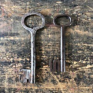 Pair of 17th Century antique Swedish wrought iron barrel keys