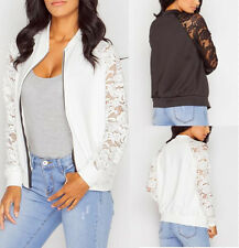 Womens Fashion Lace Spice  Jacket Casual Zip Coat Autumn Top Blouse Long Sleeve