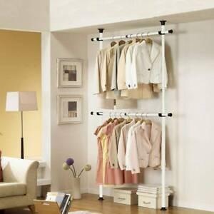 DIY Hanging Clothes Garment Rail Open Wardrobe Rack Shelf Coat Stand Organizer