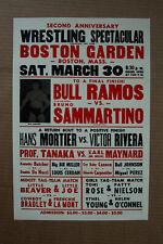Bruno Sammartino vs Bull Ramos Wrestling Poster 1970 Boston Garden