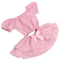 18'' Girl Doll Clothes Suit Plaid Top Bow Dress Casual Clothing Accessory