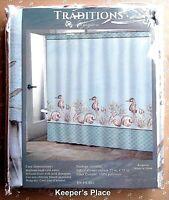 Traditions KINGSTON Shower Curtain Blue Nautical Seahorse Shells Coral Beach New
