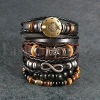 6pcs Black Brown Tribal Leather Beaded Cuff Wristband Bracelet for Men Women Set