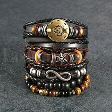 6pcs Black Brown Tribal Leather Beaded Cuff Wristband Bracelet for Men Women Set