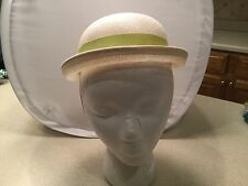 Ladies Vintage Hat Union Made White W/ Lime Green Grosgrain Ribbon & Bow