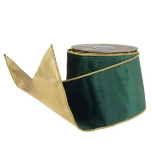 "Raz Imports 4"" X 10 Yards Green with Gold Edge Wired Velvet Ribbon"