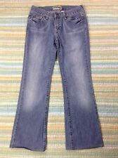 ON Old Navy Ultra Low Waist Boot Cut Distressed Denim Jeans 4 (actual 30x28.5)