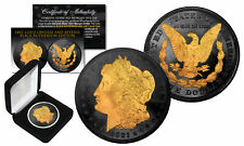 BLACK RUTHENIUM 2-Sided 1921 Original AU MORGAN SILVER DOLLAR Coin with 24K Gold