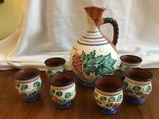 Greek Art Pottery Wine Set Decanter & 6 Goblets Signed Atsonios