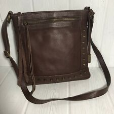 Lucky Brand Studded Dixie Brown Leather Crossbody Purse Fringe Charms MSRP $168
