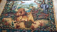 "Vivid color cotton Jungle print tablecloth coverlet bedspread 40"" x 65"" vtg"