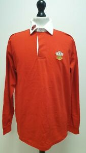 X658 MENS MANAV RED WHITE 1/4 BUTTON WALES SPORTS L/SLEEVE POLO UK S EU 46