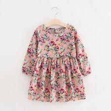 Lindo Chicas Niñas Estampado Floral Algodón Vestido Manga Larga Falda
