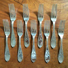 Set of 9 Antique Newell Harding & Co Boston Ma Coin Silver Forks