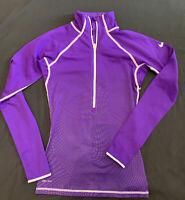 Women Nike Pro Dri Fit blue  Running Top Long Sleeve Thumb Hole XSmall  1/4  zip