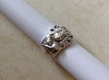 Heavy sterling silver figural mermaid lady ring semi nude filigree hair size 8.5