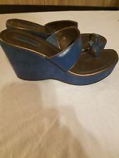 New Fioni Teal Aqua Slides Teal Wedge Sandals sz 11