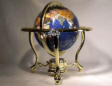 "10"" Tall Table Blue Crystallite Ocean Gemstone World Globe with Gold Tripod Std"