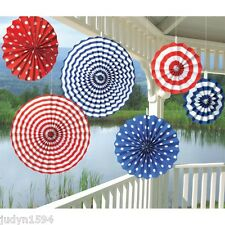 6 RED WHITE & BLUE PAPER FANS  HANGING PARTY DECORATIONS NAUTICAL USA AUSTRALIAN