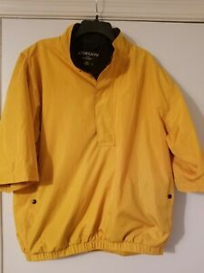 Mens FOOTJOY DRYJOYS Yellow/Navy, Lined 1/2 Zip & Snap S/S Rain Top Size Large