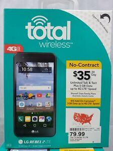 "Total Wireless Prepaid LG Rebel 2 4G LTE Smartphone 5"" screen 6.0 marshmallo (ag"