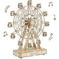 ROBOTIME 3D Wooden Puzzle DIY Ferris Wheel Music Box Model Building Kit Toy Gift