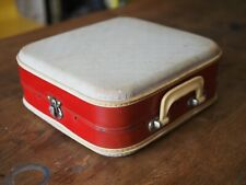 Unusual Vintage 50s 60s French Travel Suitcase red & cream Hard Shell Luggage