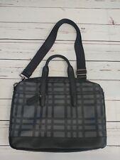 NWT COACH F11187 Hamilton Leather Briefcase Wild Graphite/Black Plaid Print