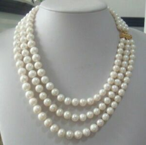 """Triple Strands 8-9mm Real Australian South Sea White Pearl Necklace 18-22"""" Hot"""
