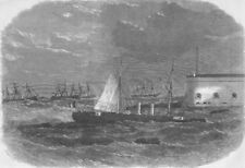 ITALY. Italian ironclad Affondatore sinking, antique print, 1866